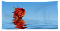 Pink Rose Hazey Blue Beach Towel