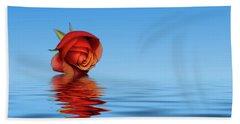 Pink Rose Hazey Blue Beach Towel by David French