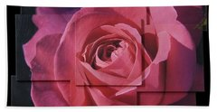 Pink Rose Photo Sculpture Beach Towel by Michael Bessler