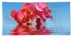 Pink Rose Sea Plale Blue Beach Towel by David French