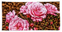 Pink Roses Beach Towel by Dennis Baswell