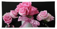 Pink Roses French Decor - Pink And Black Parisian Wall Art - Pink Roses French Home Decor Beach Towel