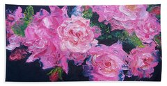 Pink Roses Oil Painting Beach Towel by Jan Matson