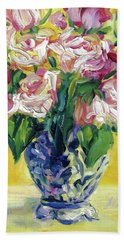Pink Roses In Blue Deft Vase Beach Sheet