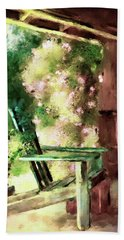 Beach Towel featuring the digital art Pink Roses On The Porch by Lois Bryan