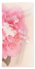 Beach Towel featuring the photograph Pink Ruffled Camellia by Cindy Garber Iverson