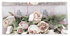 Beach Towel featuring the photograph Pink Shabby Chic Roses On Pink Cottage Books - Shabby Cottage Pink Roses Home Decor by Kathy Fornal