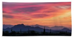 Beach Sheet featuring the photograph Pink Silhouette Sunset  by Saija Lehtonen