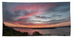 Pink Skies And Clouds At Sunset Over Lake Travis In Austin Texas Beach Towel