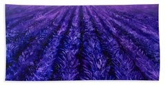 Abstract Lavender Field Landscape - Contemporary Landscape Painting - Amethyst Purple Color Block Beach Towel