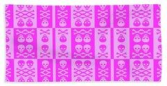 Pink Skull And Crossbones Pattern Beach Towel by Roseanne Jones
