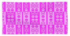 Pink Skull And Crossbones Pattern Beach Sheet