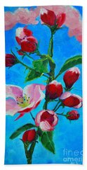 Beach Sheet featuring the painting Pink Spring by Ana Maria Edulescu