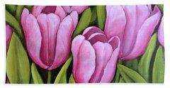 Pink Spring Tulips Beach Towel