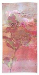 Pink Striped Tulip Flower Beach Towel