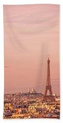 Pink Sunset In Paris Beach Towel