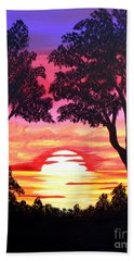 Pink Sunset Beach Towel
