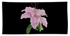 Pink Tiger Lily Blossom Beach Sheet
