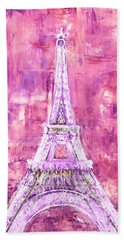 Beach Towel featuring the painting Pink Tower by Elizabeth Lock