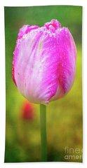 Pink Tulip In The Rain Beach Sheet