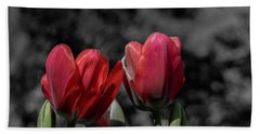 Pink Tulip Pop Beach Towel