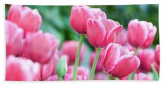 Pink Tulips 716 Beach Sheet