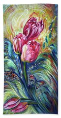 Pink Tulips And Butterflies Beach Towel
