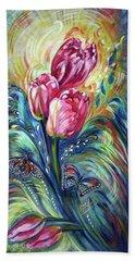 Pink Tulips And Butterflies Beach Sheet
