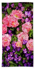 Beach Towel featuring the photograph Pink Tulips With Purple Flowers by James Steele