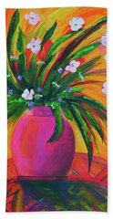 Pink Vase In Warm Afternoon Beach Towel