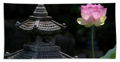 Pink Water Lily With Black Background Beach Towel