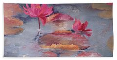 Pink Waterlilies Beach Sheet by Vali Irina Ciobanu