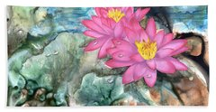 Beach Towel featuring the painting Pink Waterlily by Sherry Shipley