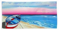 Pinkish Sunset And Boat Beach Towel