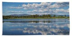 Beach Towel featuring the photograph Pinon Lake Reflections by Jason Coward