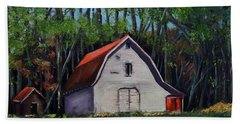 Beach Towel featuring the painting Pinson Barn At Harrison Park by Jan Dappen