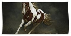 Pinto Horse In Motion Beach Sheet