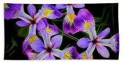 Pinwheel Purple Iris Glow Beach Towel