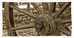 Beach Towel featuring the photograph Pioneer Wagon Wheel by Marie Leslie