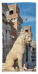 Beach Towel featuring the photograph Piraeus Lion by Fabrizio Troiani