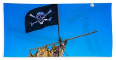 Pirate Flag And Moon Beach Towel