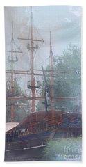 Pirate Ship Hiding In Cove Beach Sheet