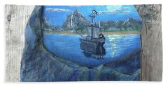 Pirate Ship Rock Painting Beach Towel