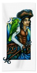 Pirate With Parrot Art Beach Towel