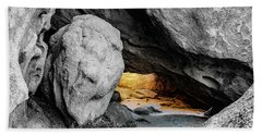 Pirate's Cave, Black And White And Gold Beach Towel