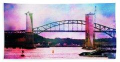 Piscataqua River Bridge From Harborwalk Park, Portsmouth New Hampshire Beach Towel