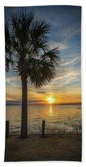 Beach Towel featuring the photograph Pitt Street Bridge Palmetto Tree Sunset by Donnie Whitaker