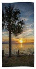 Pitt Street Bridge Palmetto Tree Sunset Beach Towel