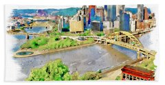 Pittsburgh Aerial View Beach Towel