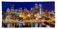 Pittsburgh Pennsylvania Skyline At Night Panorama Beach Sheet